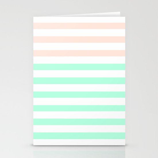 MINT & PEACH STRIPES Stationery Cards