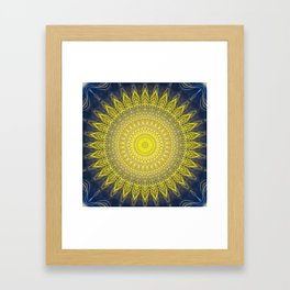 Bright Gold Navy Bohemian Mandala Framed Art Print