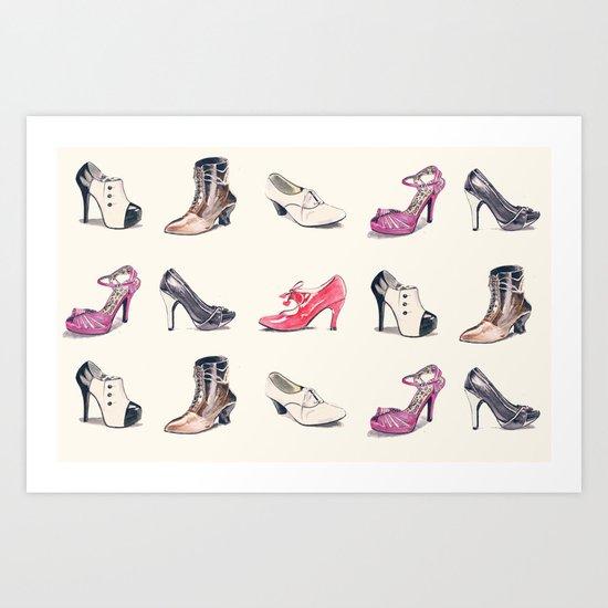 Vintage Shoes Pattern Art Print