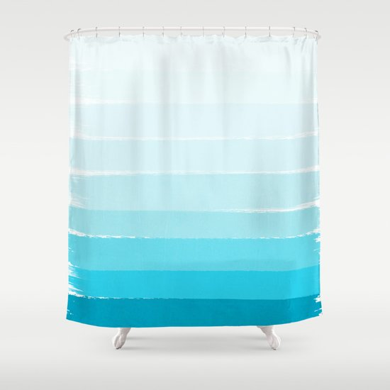 Isla Ombre Brushstroke Blue Turquoise Bright Summer Tropical Beach Ocean Shower Curtain