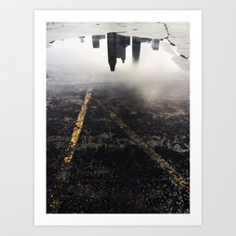 Reflection of Chicago in a Puddle Art Print