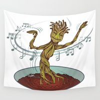 guardians of the galaxy Wall Tapestries featuring Guardians of the Galaxy - Dancing Baby GROOT by Teo Hoble