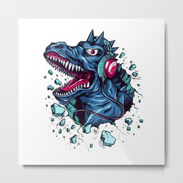Dino with Headphones BLUE Orient Metal Print
