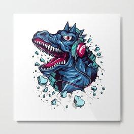 Dino with Headphones BLUE Orient Metal Print