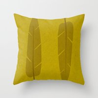 banana leaf Throw Pillows featuring Banana Leaf Yellow by Endless Summer