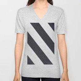 White & Black Stripes Unisex V-Neck
