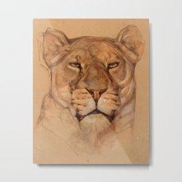 Portrait of a Lioness Metal Print