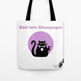 """Cats love Champagne"" by Qora & Shaï Tote Bag"