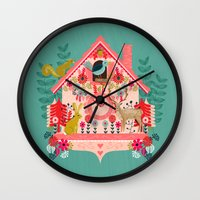 valentines Wall Clocks featuring I'm Cuckoo For You - Valentines Cuckoo Clock  by Andrea Lauren Design