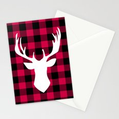 Winter Plaid Deer Stationery Cards