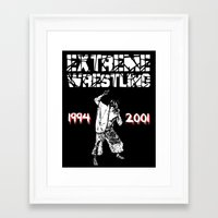 wrestling Framed Art Prints featuring Extreme Wrestling by Darth Paul