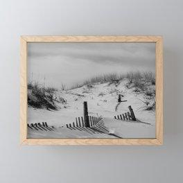 Buried Fences Black and White Coastal Landscape Photo Framed Mini Art Print