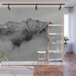 Mountains (Black and White) Wall Mural