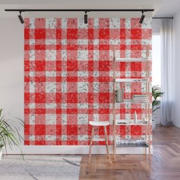 Red White Patchy Marble Tartan Pattern Wall Mural