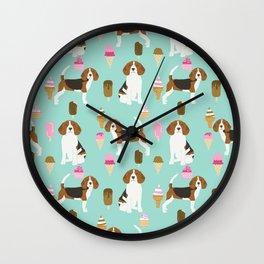 beagle ice creams dog lover pet gifts cute beagles pure breeds Wall Clock