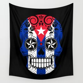 Sugar Skull with Roses and Flag of Cuba Wall Tapestry
