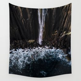 Aerial of Basalt waterfall flowing into the Atlantic ocean on the Isle of Skye - Landscape Photo Wall Tapestry
