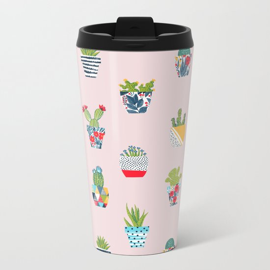 Funny cacti illustration Metal Travel Mug