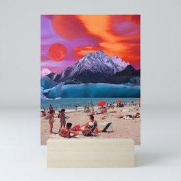 Red moon at the beach Mini Art Print