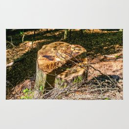 Tree Stump of cut down Tree in the Forest (orange/brown) Rug