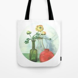 Still life with Buttercup and glass bottles Tote Bag