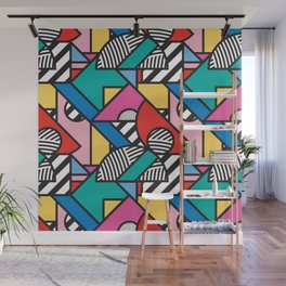 Colorful Memphis Modern Geometric Shapes - Tribal Kente African Aztec Wall Mural