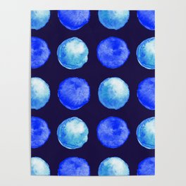Winter Blue Watercolor Large Dots Pattern Poster