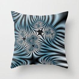Blue Zebra Fractal Throw Pillow