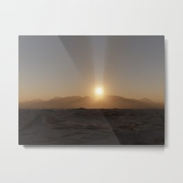 Distant Towers-Evening Rays Metal Print
