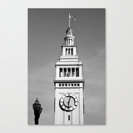 Ferry Building + USA Flag, San Francisco Canvas Print