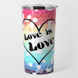 Love is Love Mosaic Pride Flag Design Travel Mug