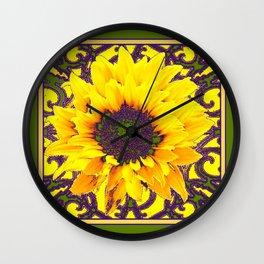 Moss Green Purple & Yellow Floral Garden Pattern Wall Clock