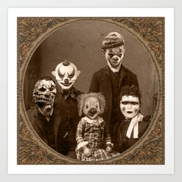 Creepy Clown Family Halloween Art Print