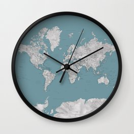 Detailed grey watercolor and teal world map Wall Clock