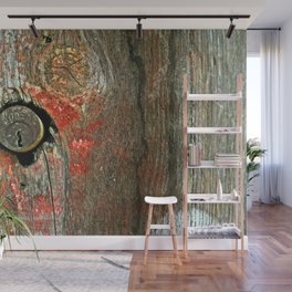 Weathered Wood Texture with Keyhole Wall Mural