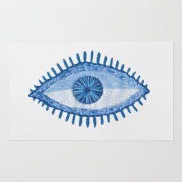 Embroidered evil Eyes Rug