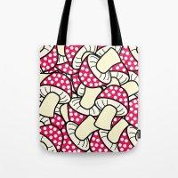 mushrooms Tote Bags featuring mushrooms by zhbannikov