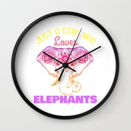Female Elephant Tribal Art Tribe Floral Paleo Cave Tattoo Design T-shirt Design Zoo Gradient Star Wall Clock