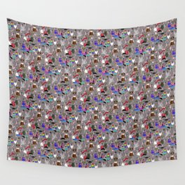 Small Print Dog Weim Nation Grey Ghost Weimaraner Hand-painted Pet Pattern on Pink Wall Tapestry