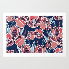 Papercut tulips Art Print