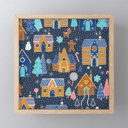 Gingerbread Houses in the snow Framed Mini Art Print