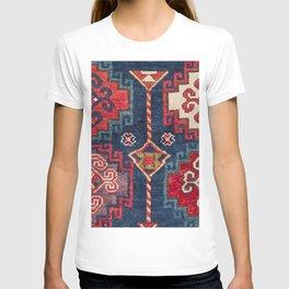 Royal Blue Red Kazak 19th Century Authentic Colorful El Paso Vibes Vintage Patterns T-shirt
