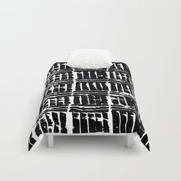 Grunge, Abstract Black and White Print Comforters