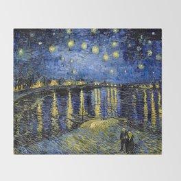 Van Gogh Starry Night Over the Rhône Throw Blanket
