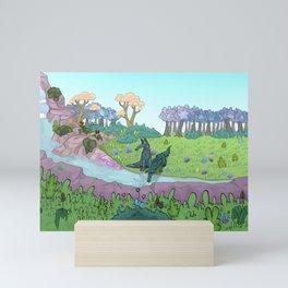 Creek and wolf - Ruisseau des loups Mini Art Print