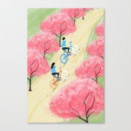 Ride Bike Students Canvas Print