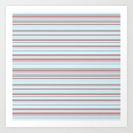 Sky Blue Red Candy Lines Art Print