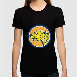 Jaguar Head Side Growling Circle Retro T-shirt