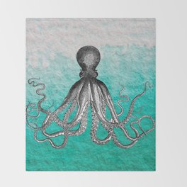 Antique Nautical Steampunk Octopus Vintage Kraken sea monster ombre turquoise blue pastel watercolor Throw Blanket