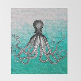 Antique Nautical Steampunk Octopus Vintage Kraken sea monster ombre turquoise blue pastel watercolor Throw Blanket